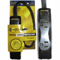 GoldX Travel Surge Protector - $10,000 Warranty<BR>4 Outlets, 350 Joules, Circuit Breaker