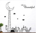 Trees Moon Houses Wall Decals