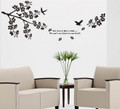 Flowers, bird Black Wall Decals