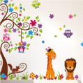 Lion, Giraffe, Owels, Squirrel, Tree, Mushroom Wall Decals - Large Size