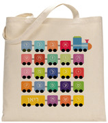 Personalized Hebrew Alphabet Train Tote Bag