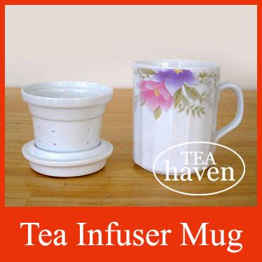 Porcelain Tea Infuser Mug - Flowers