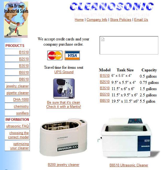 Cleanosonic.com circa 2001