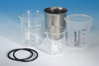 stainless steel and glass beakers