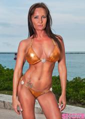 Copper Metallic Chain and Hearts Bikini