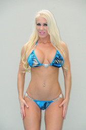 Blue Animal Print Chain and Hearts Bikini