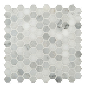 "MSI 1"" x 1"" Marble Honed Mosaic Tile in Arabescato Carrara"