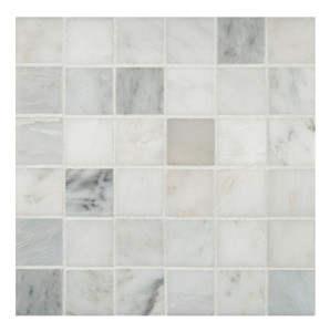 "MSI 2"" x 2"" Marble Honed Mosaic in Arabescato Carrara"