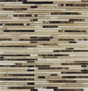 MSI Emperador Mounted Random Sized Blend Bamboo Marble Mesh Glazed and Textured Mosaic in Brown