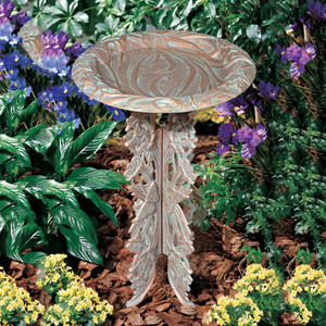 Whitehall Products Copper Verdi Butterfly Pedestal Bird Bath