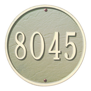 "This round plaque may be ordered with either text or numbers. Available in a Wall Mount only. Each plaque is crafted from rust-free recycled aluminum, with paints that have been specially formulated to withstand the harshest elements. Mounting hardware is included. Holds up to five 3"" characters. Dimensions: 9"" x 9"""