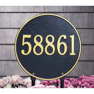"This round plaque may be ordered with either text or numbers. Available in a Lawn Sign only. Each plaque is crafted from rust-free recycled aluminum, with paints that have been specially formulated to withstand the harshest elements. Mounting hardware is included. holds up to three 7"" numbers or five 4.5"" numbers. Dimensions: 15"" x 15"""