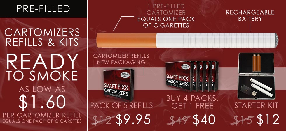 Smoke for as low as $1.60 per cartomizer refill!