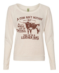 Cow Trouble Slouchy Pullover