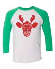 Grandma Got Run Over By a Show Steer Christmas Raglan