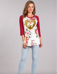 Cupig Floral Raglan - Limited Sizes