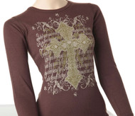 Long Sleeve Brown Gothic Cross Thermal