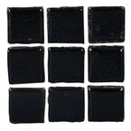 Dollhouse Black Glass Mosaic Tile Sheet