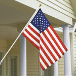 Veterans Flag Depot - USA Flags and Flagpoles - MADE IN THE USA - Heavy Duty Spinning Flagpole House Set With Adjustable Bracket