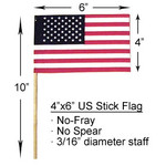 4x6 inch U.S. Cotton Stick Flags No Spear