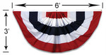 Veterans Flag Depot - USA Flags and Flagpoles - MADE IN THE USA - 3x6 Foot Pleated Full Fan Nylon Z16117