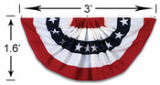 Veterans Flag Depot - 3 Foot x18 inch Stars and Stripes Pleated Full Mini Fan