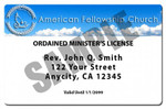Minister License ID Card Front 5 year