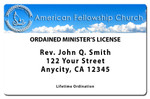 Ordained Minister License Sample Front