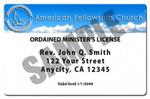 RENEWAL 1 Year Minister License ID Card Ordination and Membership