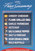 Gourmet Fries Seasonings PVC Flavor Menu Blue