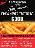 Gourmet Fries Seasonings PVC Flavor Menu Black