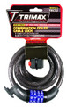 MEDIUM SECURITY RESETTABLE COMBO W/ BRACKET - COILED 6'X12MM