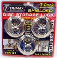 TRIMAX Stainless Steel 70MM Round Padlock w/ 10MM Shackle 3-PACK KEYED ALIKE