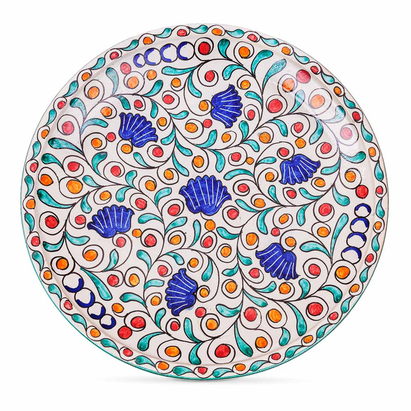 Fes Ceramic Plate Flower pattern from Morocco
