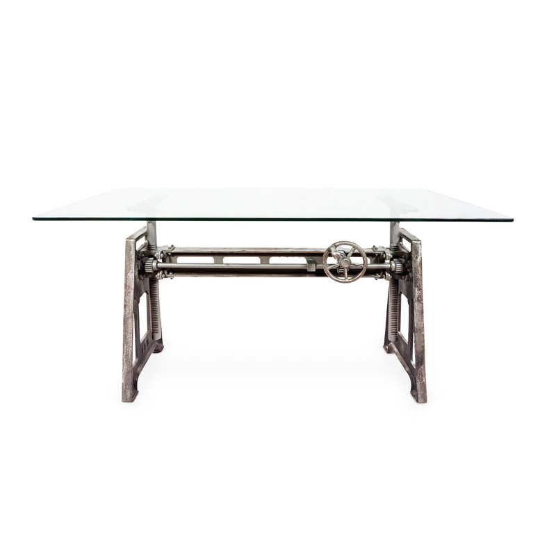 industrial glass desk