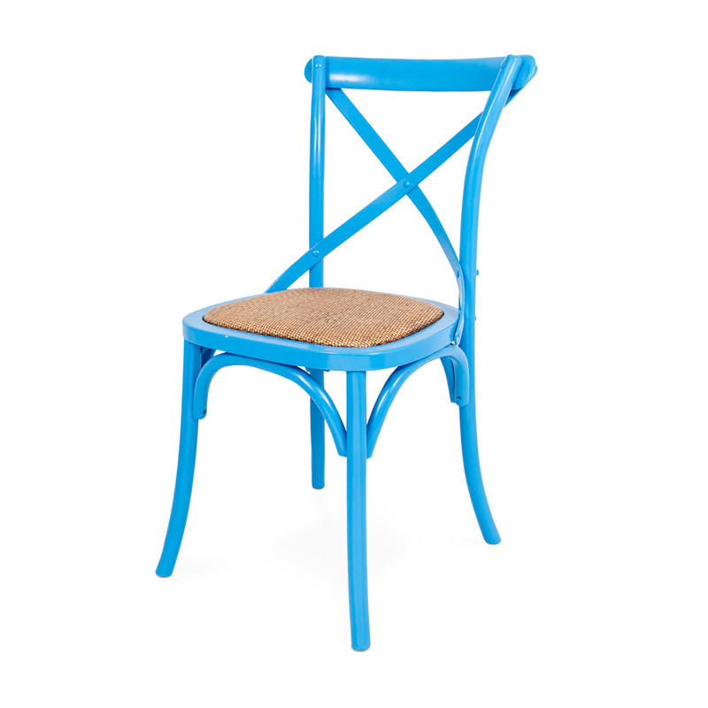 Crossback Chair Blue side