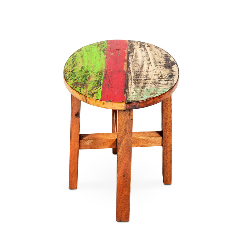 recycled timber round stool