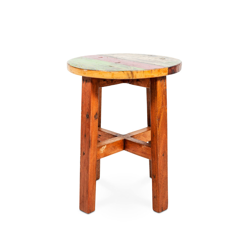 low timber teak stool