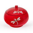 Red Lacquer Oriental Storage Bowl