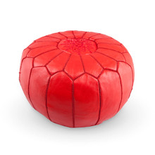 Moroccan Leather Ottoman Red