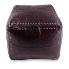 Moroccan Leather Pouffe Square