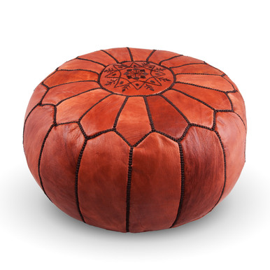 Moroccan Leather Ottoman Natural Brown