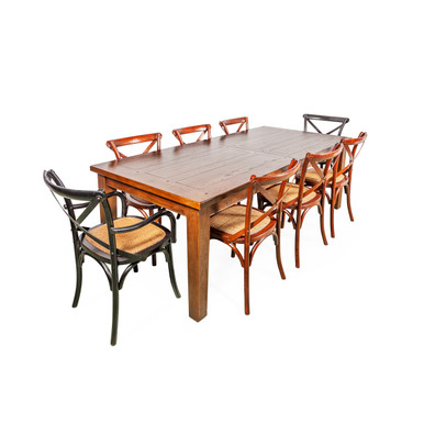 Banquet Timber Dining Table with Crossback Chairs