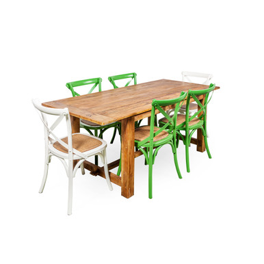 Recycled Timber Dining Table with Crossback Chairs