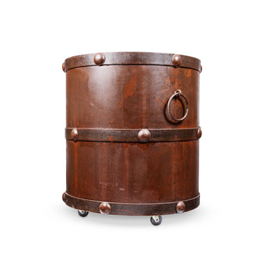 Rustic Metal Barrel for Firewood
