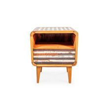 recycled timber bedside table retro