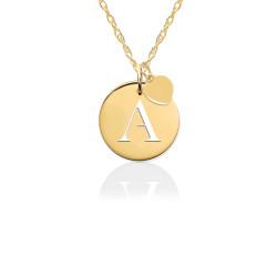 14K Gold Pierced Disc Initial Charm w Gold Heart