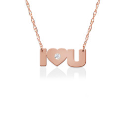 I Love U Pendant w Diamond Accent