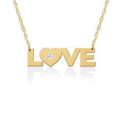 LOVE Pendant w Diamond Accent