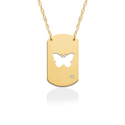 """3/4"""" Butterfly Dog Tag Icon w Diamond Accent"""